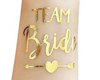 Bachelorette Party Tattoo,Team Bride Gold Tattoo, Bride Gold Tattoo,Bridesmaid Gift, Temporary Tattoo,Bachelorette Party Favor,Metallic Gold