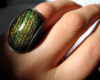 Flashy Green Ring, Dichroic Fused Glass, Flashy Ring, Sterling Ring, Hard Candy Gems, Big Glass Ring, Wire Ring, Statement Ring