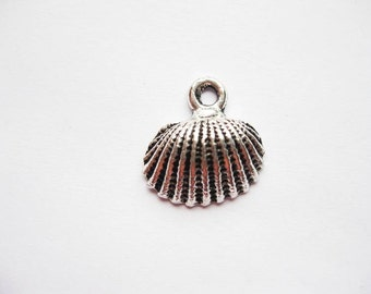 SALE - 6 Shell Charms in silver tone - C528