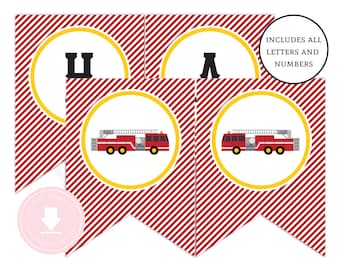 INSTANT DOWNLOAD Firetruck Happy Birthday Banner (Firetruck Birthday, Firetruck Banner, Firetruck Party, Printable Happy Birthday Banner)