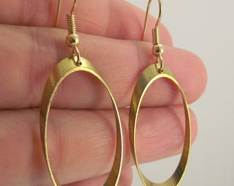 Antiqued Brass Oval Earrings, Brass Earrings