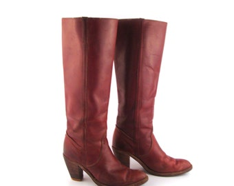 Frye Boots  Vintage 1980s Stacked Heel Whiskey Burgundy Brown Leather Women's size 6