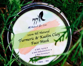 Turmeric and Kaolin Clay Mask, Acne Mask Treatment, 100% All Natural Turmeric & Kaolin Clay Exfoliating Beauty Face Mask