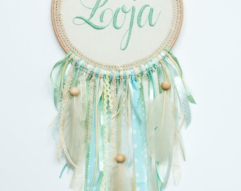 dreamcatcher with hand- embroidered name - Kids Teepee Decoration-  wall hanging mobile-Wall art dreamcatcher