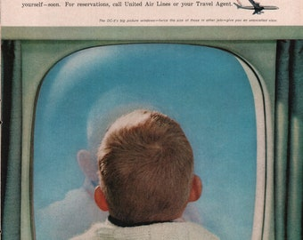 1960 United Airlines DC-8 DC8 Jet Travel Boy Looking Out Window Vintage Color Art Print Ad