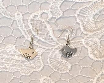cute bird earrings silver plated kitsch