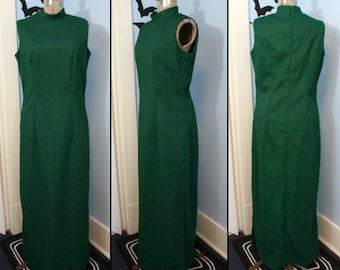 Womens Vintage 1970s Green Christmas Glamorous Sparkly Long Dress Old Hollywood Glamour by Dutchmaid Modern Large XL
