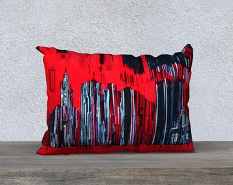 Barcode City Montreal St - Malo red Art Print pillow cover - Pillow Case, painting Mélanie Bernard