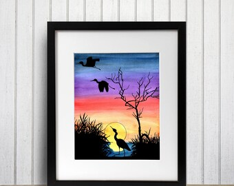 Pacific Northwest Sunset - Nature Inspired Watercolor Painting - Art Print