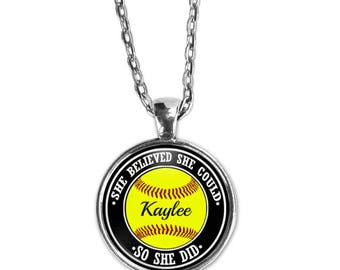 Softball Necklace, Personalized, She Believed she Could,  Softball Gift, Sports Jewelry, Softball Mom, Softball Player