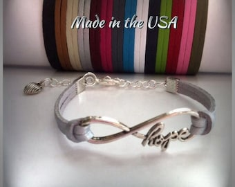 Infinity Hope bracelet infinity bracelet Hope bracelet inspirational jewelry Charm bracelet Friendship bracelet infinity jewelry Hope charm