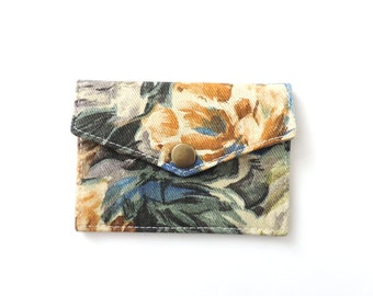 Floral Snap Wallet Slim Minimalist Card Wallet
