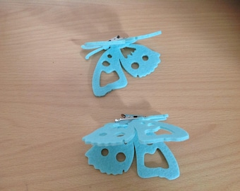 set of 2 Butterfly green with metal clip