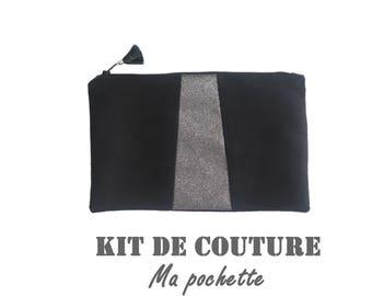 """Kit couture - Ma pochette - modèle """"noir et argenté"""""""