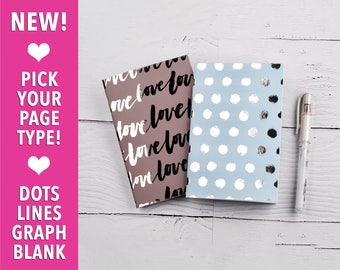 Notebook Set, Brown and Blue, Polka Dots, Travelers Notebooks, Pocket Notebook, Gift Idea, Fun Stationery, Set of 2 Notebooks