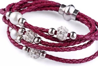 Braided Wine Color Leather Beaded Bracelet