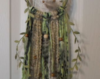 green dream catcher boho chic wall hanging wall decor feathers Southwestern hippie