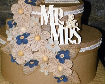Mr. & Mrs. Wedding Card Box, Burlap and Denim Flowers, Leaves and Ribbons Drape a Tierd Oval Box Set 11 1/2 x 13 x 9  From Shower to Wedding