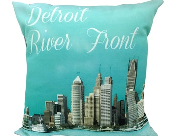 Detroit River Front South End View Pillow Cover With Insert