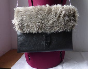 Faux leather with fur flap pouch