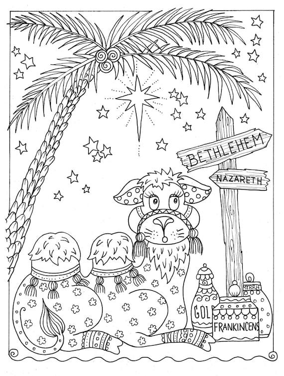 Sofortige Malvorlagen Weihnachten Färbung Spaß Kamel Christian