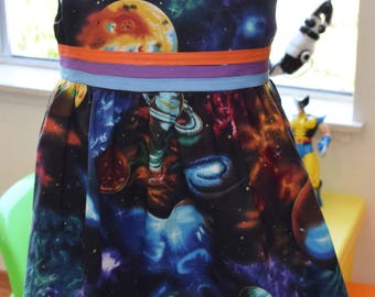 Planets/ Outer space dress (2T)