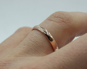 Men's Rose Gold Wedding Band, Silver with Rose Gold Finish, Men's Thin Wedding Band, Comfort Fit, Low Dome Gold Wedding Band