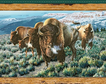 Buffalo Fabric Bison Fabric Panel From Quilting Treasures 100% Cotton