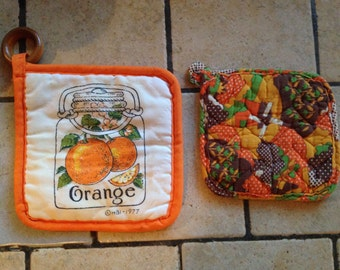 Orange and Brown Pot Holders