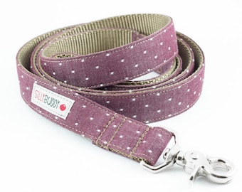 Chambray Burgundy Dot Dog Leash
