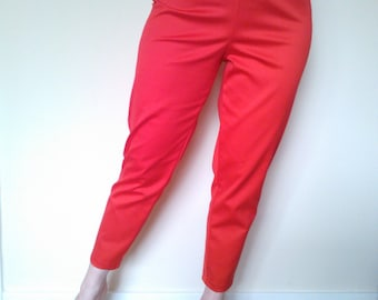 Red 1950s style cigarette pants, true vintage fit.