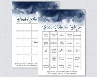 Navy Watercolor Bridal Shower Bingo Printable - 60 Unique Pre-filled Bingo Cards AND Blank Cards - Navy Blue Watercolor Bridal Bingo 0030-N