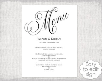 "Menu sign template black & white wedding menu poster DIY printable calligraphy menu templates ""Parfumerie"" digital YOU edit instant download"