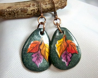 Fall Leaves Earrings, Hand-Painted on Polymer Clay, Orange, Yellow, Purple, Green Clay