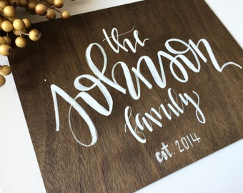 Custom family name sign- wooden sign, wood name sign, wedding gift, wedding decor, wood sign, custom name sign, family name sign, wall art