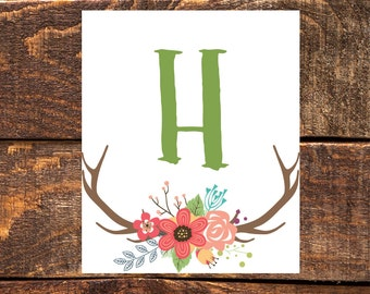 Personalized Antler Initial- Wall Art Print, Instant Download, Printable Wall Decor