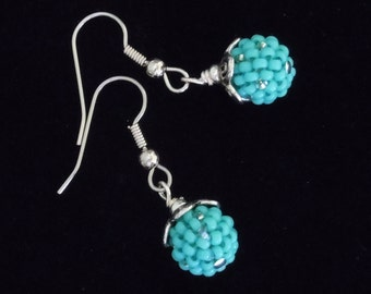 Turquoise Earrings, Beaded Beads, Silver Earrings, Seed Bead Earrings, Cowgirl Chic Earrings,