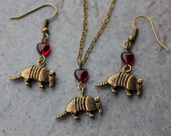 Armadillo necklace and earring set - antiqued bronze animal pendant & red hearts, antiqued brass chain - free shipping USA