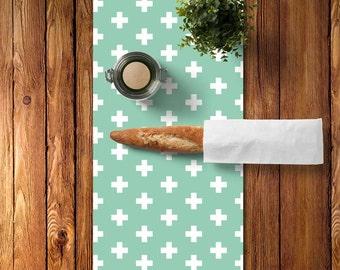 45 colors Swiss Cross Table Runner, Plus Sign Table Runner, Mint Table Runner, Mint Dining Room, Graphic Table Runner, Housewarming Gift
