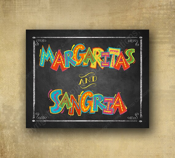 Margaritas and Sangria Sign, Printed Party Sign - Fiesta Bar Sign, Fiesta party signage wedding sign, Cindo de Mayo sign, grad party sign