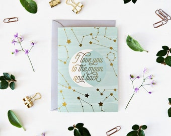 Moon Greeting Card with gold foil