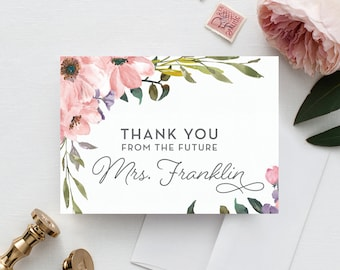 Tea Rose Thank You Cards - Wedding Thank You Cards - Thank You Cards - Bridal Shower Thank You Cards - Wedding - Printed Folded Cards