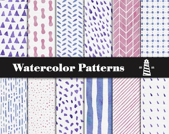 Colorful Watercolor Patterns, Watercolor Digital Paper, Hand Painted Watercolor Patterns, Triangles, Stripes, Rain Drops, Spots, BUY7FOR10