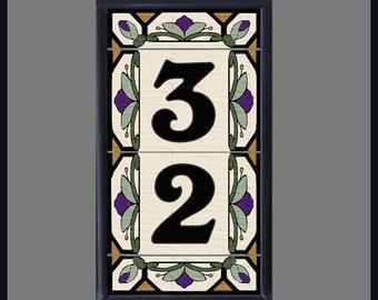 Framed House Numbers, Address Tiles, Hex-Flower Design, Vertical Mount