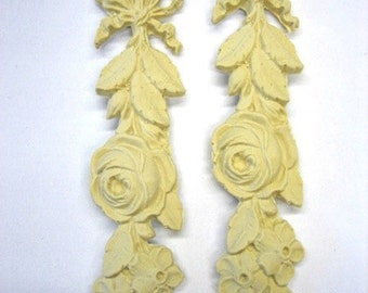 Architectural Rose Drops (2) Furniture Applique - Wood & Resin - Trims and Appliques - Flexible - Stainable - Paintable