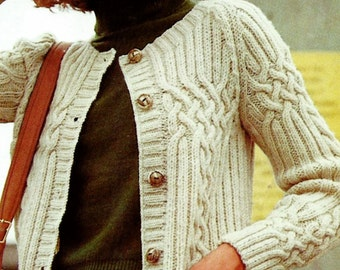 Cable and Rib Fisherman Cardigan Vintage Knitting Pattern Instant Download
