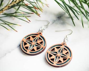 Compass Rose Earrings, Compass Rose, Compass Earrings, Nautical Earrings, Nautical Jewelry, Compass Jewelry, Boat Earrings, Nautical Gift