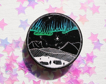 Northern Lights Brooch - Aurora Pin - Moon Phase Badge - Lunar Planets Space Stars Pin -  Sweden Arctic - Galaxy Cosmic - Mountain Nebula