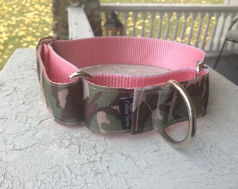 "Coco Chanel Pink Camo - 1.5"" Martingale Collar"