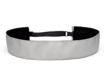 Adjustable Non-Slip Headband - Extra Wide Solid Gray